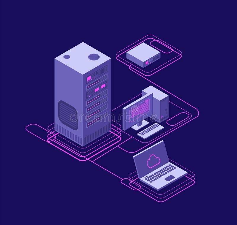 Computer synchronization, data network management. Isometric devices, networking servers. Cloud storage technology stock illustration