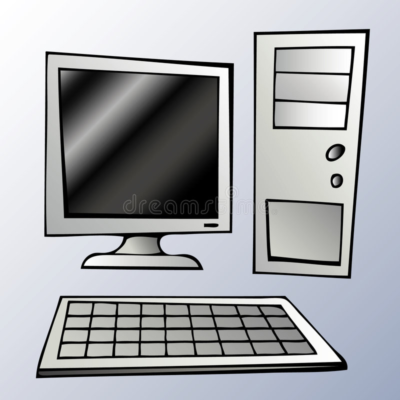 Computer system. (LCD, tower and keyboard vector illustration