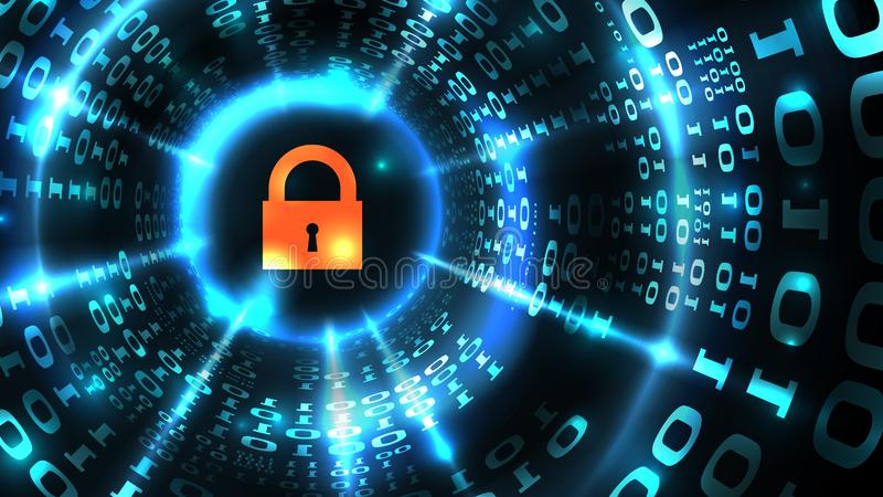 Computer system protection, database security, safe internet. Lock symbol on abstract computer data background programming binary royalty free illustration
