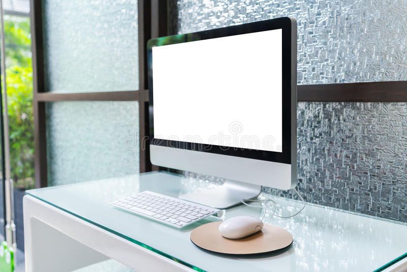 Computer on table in office, Workspace . royalty free stock photos