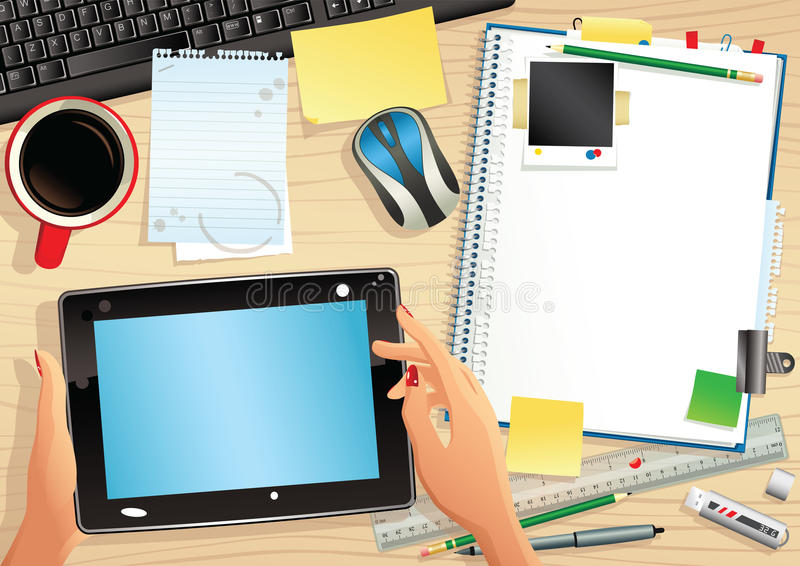 Computer tablet and desktop stock photography