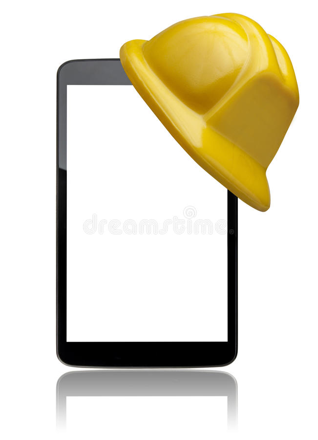 Computer Tablet Front Hard Hat Protection Isolated royalty free stock images