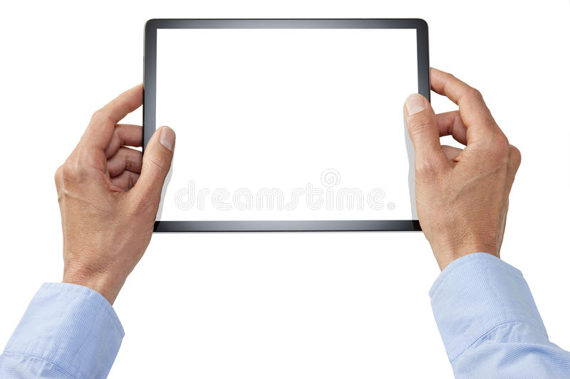 Computer Tablet Hands Business Technology. Hands holding a computer tablet with a blank screen isolated on white