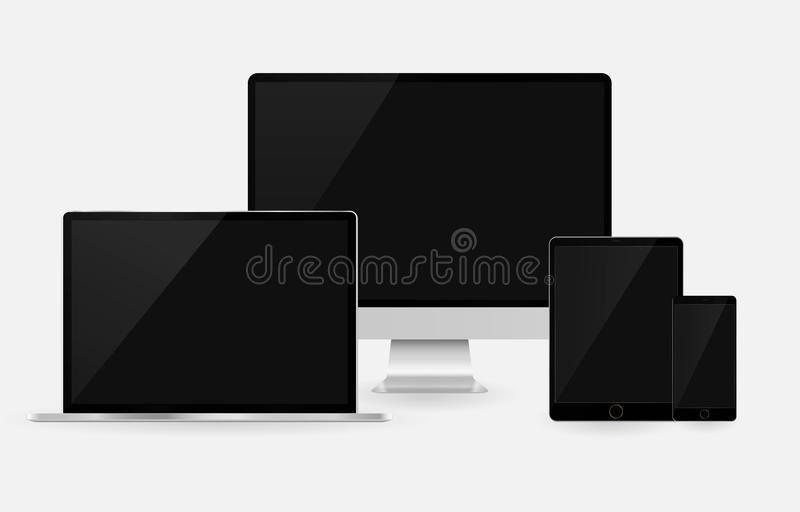 Computer tablet laptop smartphone set responsive. Mockup mobile phone gadget set isolated vector background vector illustration