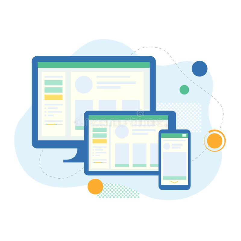 Computer, tablet and phone. Interface for different devices. Web site and application development. Vector illustration in flat style royalty free illustration