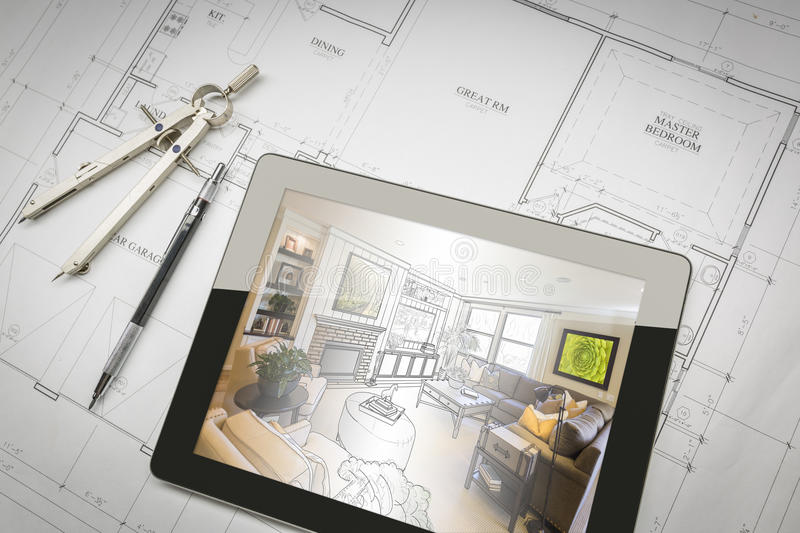 Computer Tablet Showing Room Illustration On House Plans, Pencil royalty free stock image