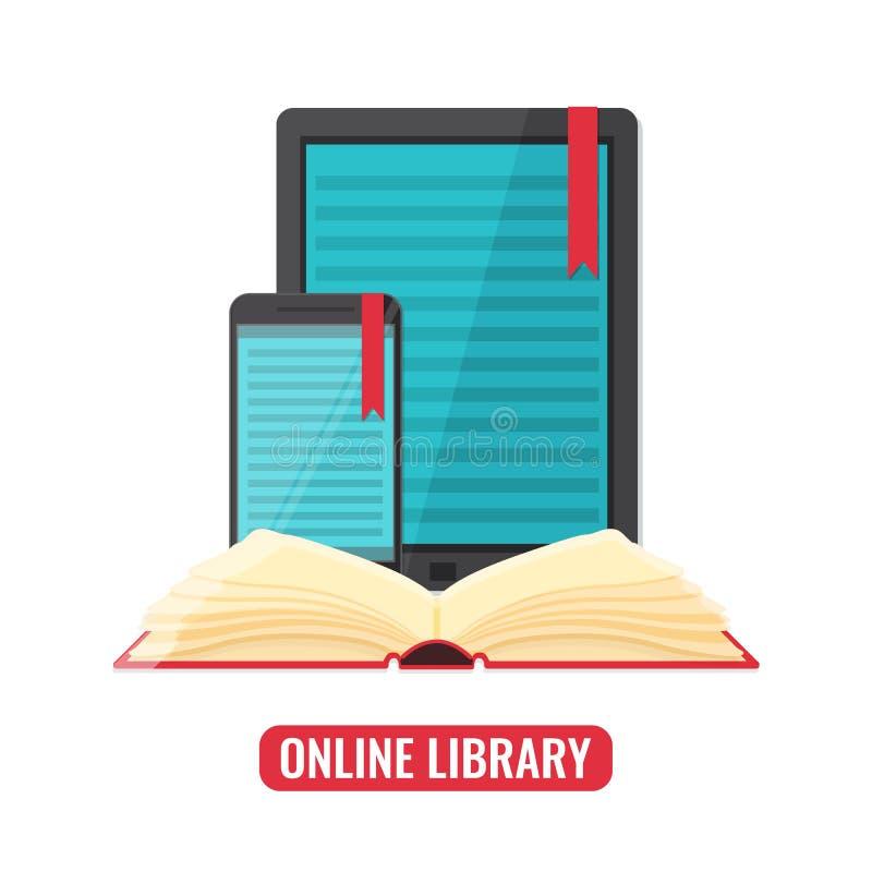 Computer Tablette und Smartphone mit Buchleseranwendung stock abbildung