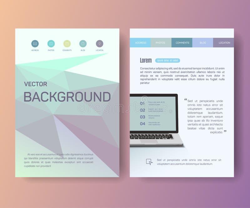 Computer, taccuino, aletta di filatoio del manifesto della rivista del libretto illustrazione di stock