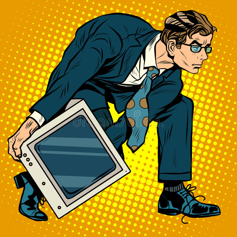 Computer tech weapon men. Pop art retro style. A man picks up a computer to throw it. Programmer and technology stock illustration