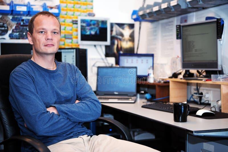 Computer techician stock image