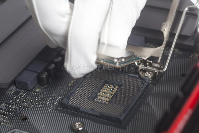 Computer technician wearing white gloves installing CPU into motherboard. Close up stock photos