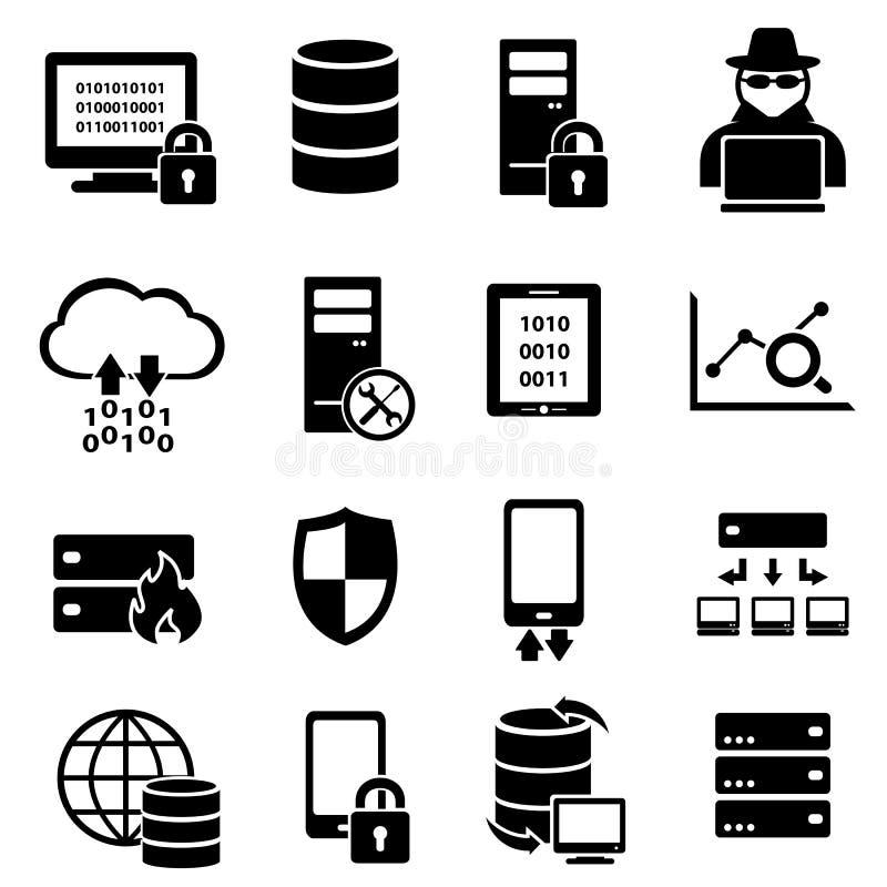 Computer, technologie, gegevenspictogrammen stock illustratie