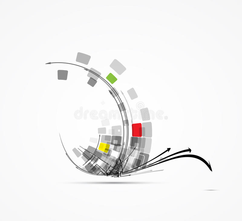 Computer technology chip concept business background stock illustration