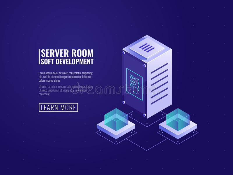 Computer technology and data science concept, datacenter with database icon, cloud storage of digital information vector illustration