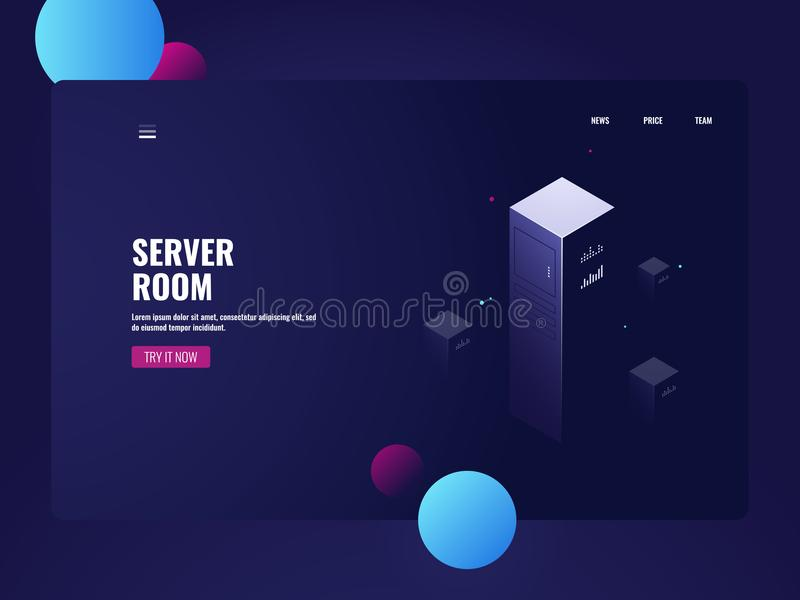Computer technology, data warehouse, datacenter banner, telecommunication isometric technology vector server room vector illustration