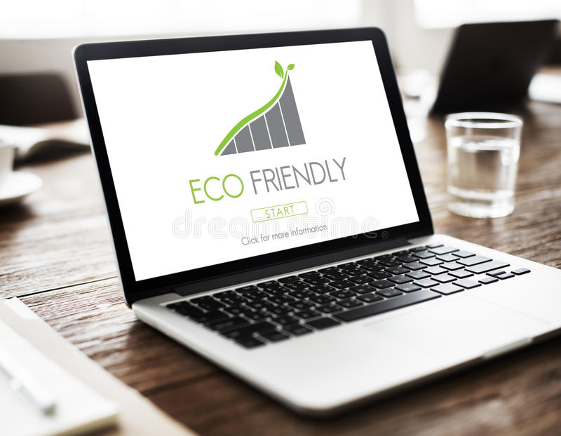 Computer Technology Eco Friendly Graphic Concept. Eco Friendly computer Technology Graphic Concept stock photos