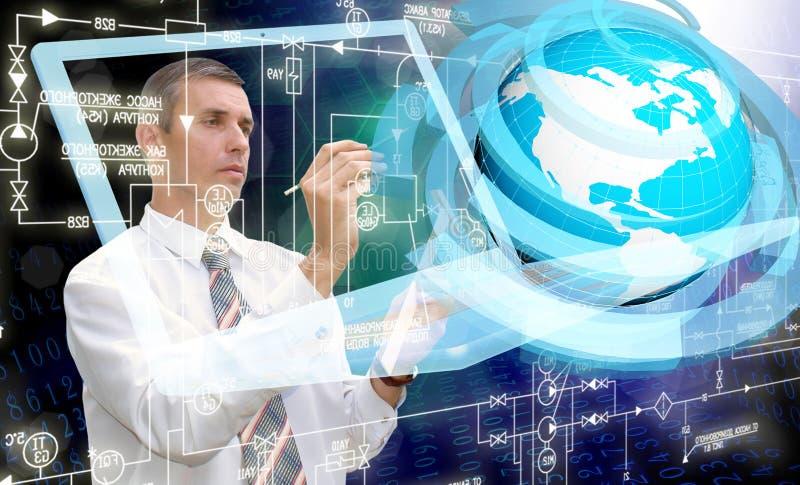 Computer technology. Engineering designing computer technology.Engineer royalty free stock images