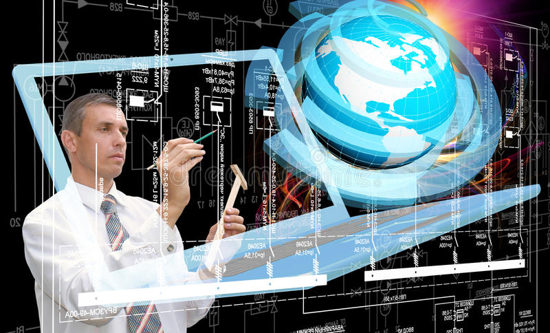 Computer technology. Engineering designing computer technology. Engineer royalty free stock images