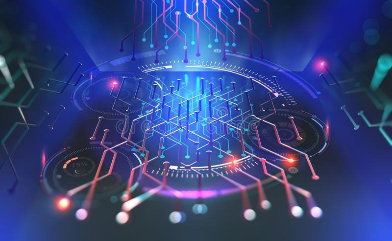 Computer technology of the future. Microchip quantum processor. Modern 3D illustration of fantastic cyberspace with HUD elements royalty free illustration
