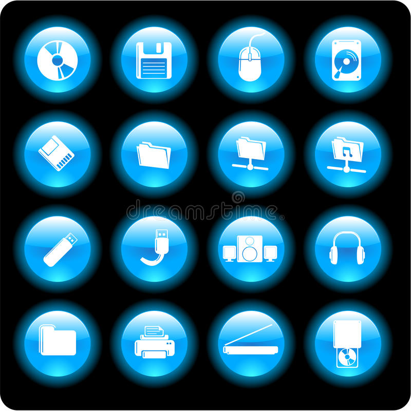 Computer technology icons royalty free illustration