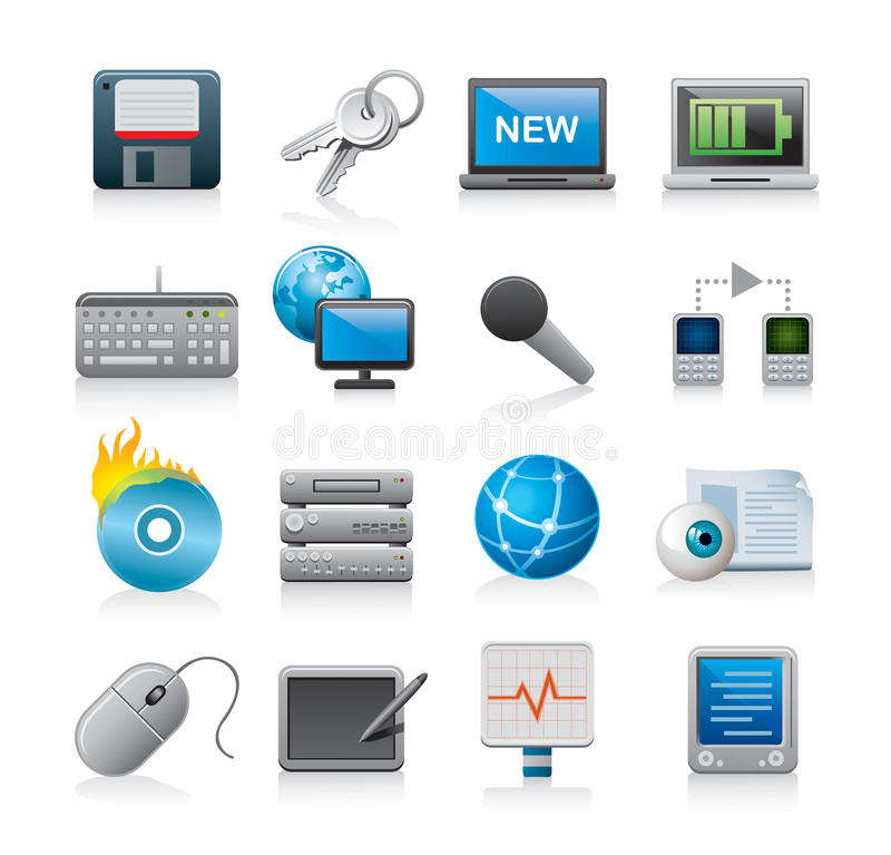 computer technology icons stock illustration