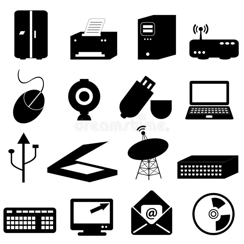 Computer and technology icons. Computer and technology related icons and symbols stock illustration