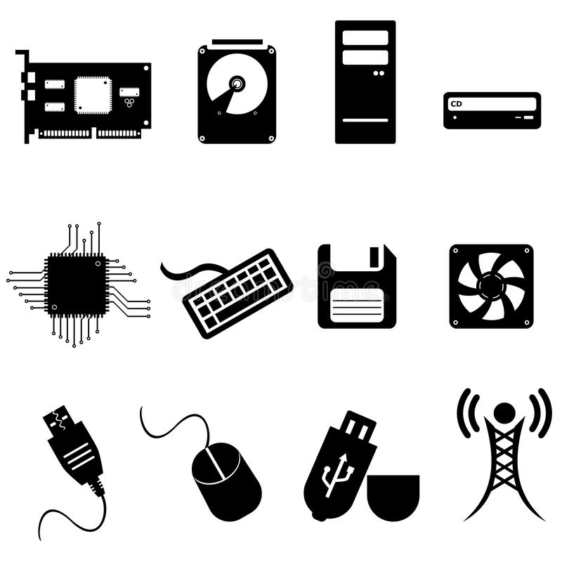Computer and technology icons stock illustration