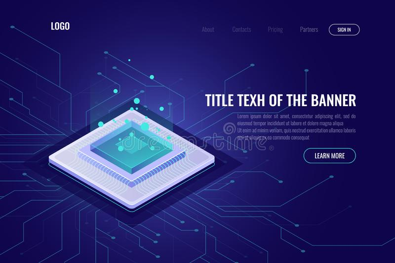 Computer technology isometric abstract banner, cpu server, big data processing, machine learning, neural network, data vector illustration