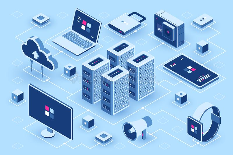 Computer technology isometric icon, server room, digital device set, element for design, pc laptop, mobile phone with. Smartwatch, cloud storage, flat vector vector illustration