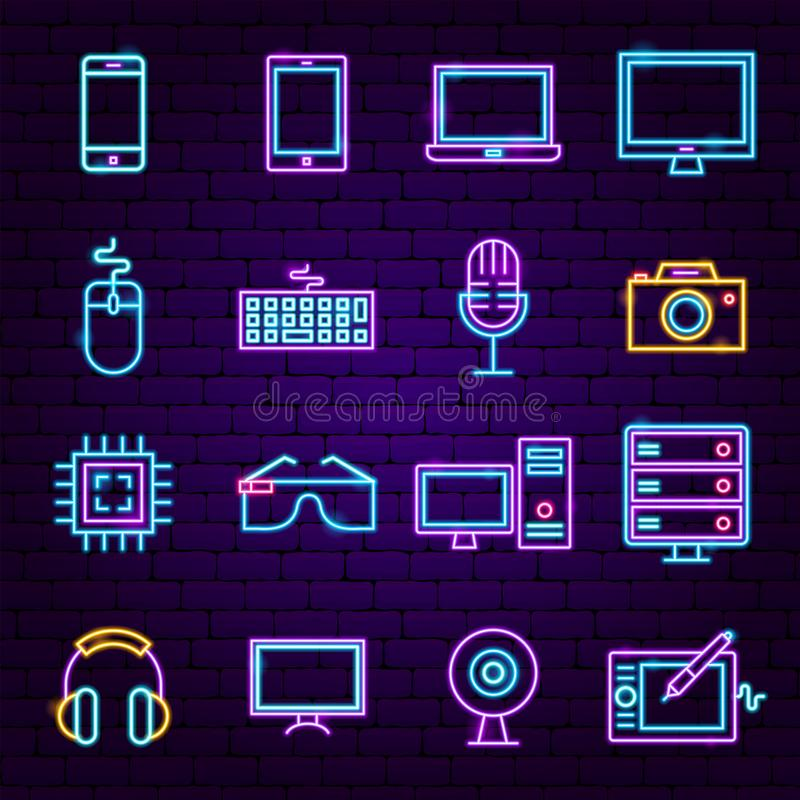 Computer Technology Neon Icons. Vector Illustration of Electronics Promotion vector illustration