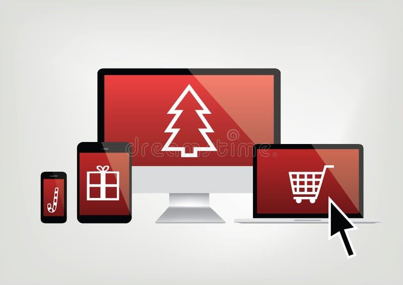 Computer, telefoon, laptop de schermen met Kerstmis het winkelen pictogrammen vector illustratie