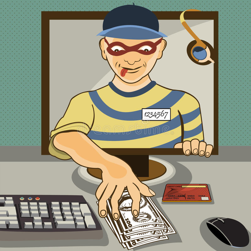 Download Computer thief stock vector. Illustration of line, crime - 36935315