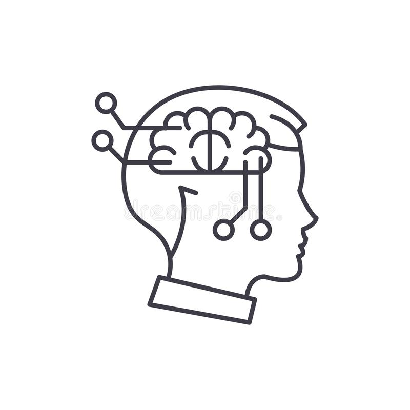 Computer thinking line icon concept. Computer thinking vector linear illustration, symbol, sign stock illustration