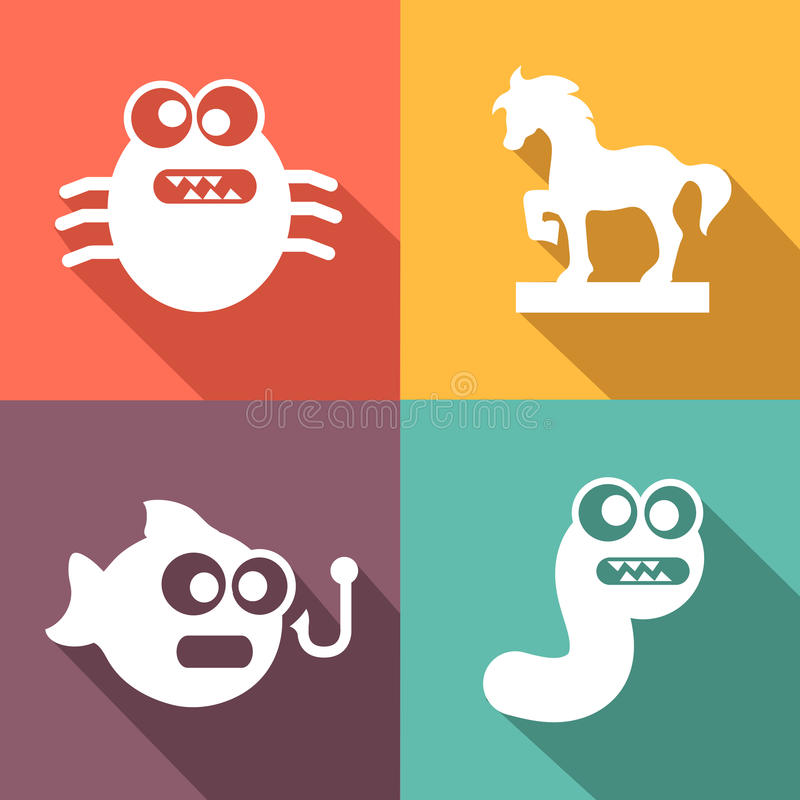 Computer Threats Icons flat style vector illustration