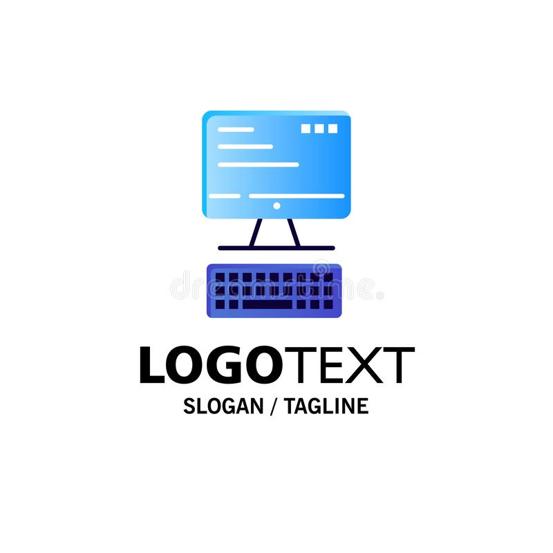 Computer, Toetsenbord, Monitor, Gegevensverwerkingszaken Logo Template vlakke kleur vector illustratie