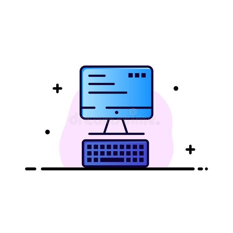 Computer, Toetsenbord, Monitor, Gegevensverwerkingszaken Logo Template vlakke kleur royalty-vrije illustratie
