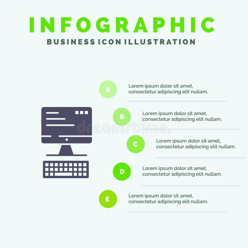 Computer, Toetsenbord, Monitor, het Malplaatje van de Gegevensverwerkingsinfographics Presentatie 5 stappenpresentatie stock illustratie