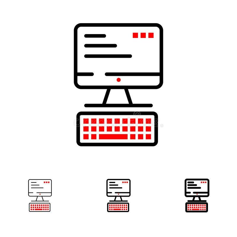 Computer, Toetsenbord, Monitor, het pictogramreeks van de Gegevensverwerkings Gewaagde en dunne zwarte lijn stock illustratie