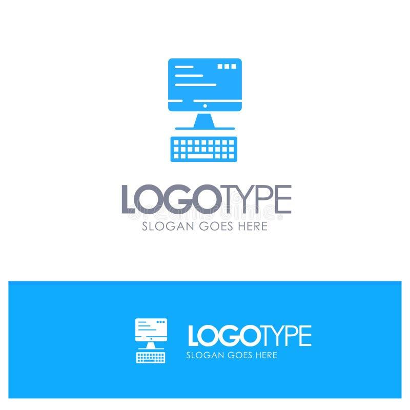 Computer, Toetsenbord, Monitor, vector van het Gegevensverwerkings de Blauwe Embleem royalty-vrije illustratie