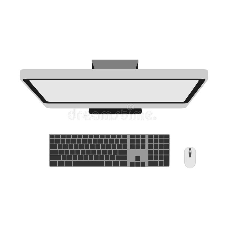 Computer top view technology business office design background. Above white screen PC vector object. Desktop table icon monitor is vector illustration