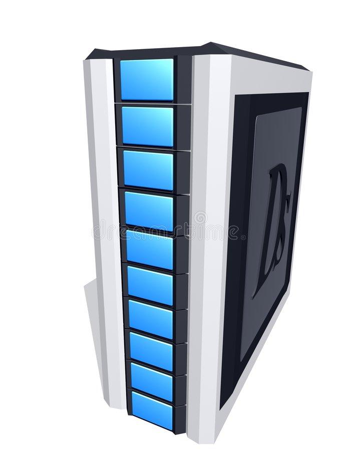 Computer tower. Over white royalty free illustration