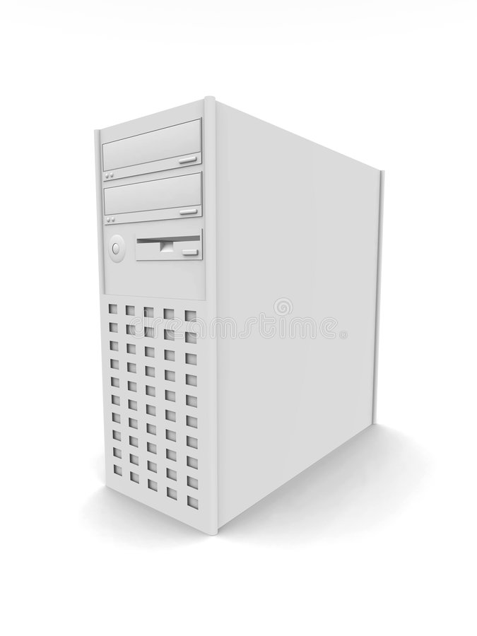 Computer Tower. 3D rendered PC Tower stock illustration