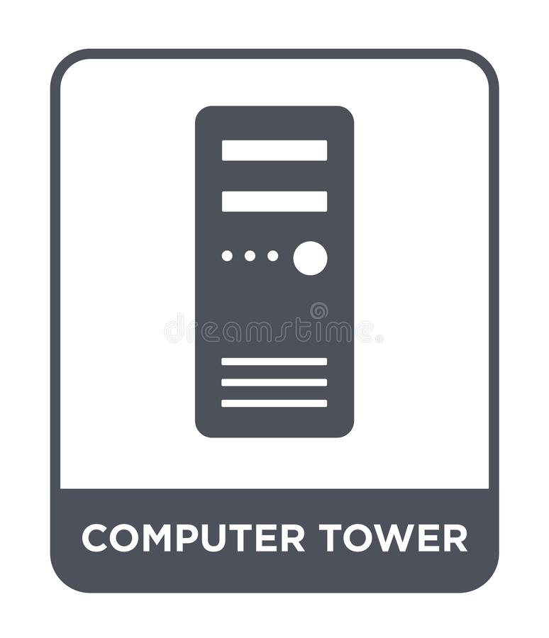 Computer tower icon in trendy design style. computer tower icon isolated on white background. computer tower vector icon simple. And modern flat symbol for web royalty free illustration