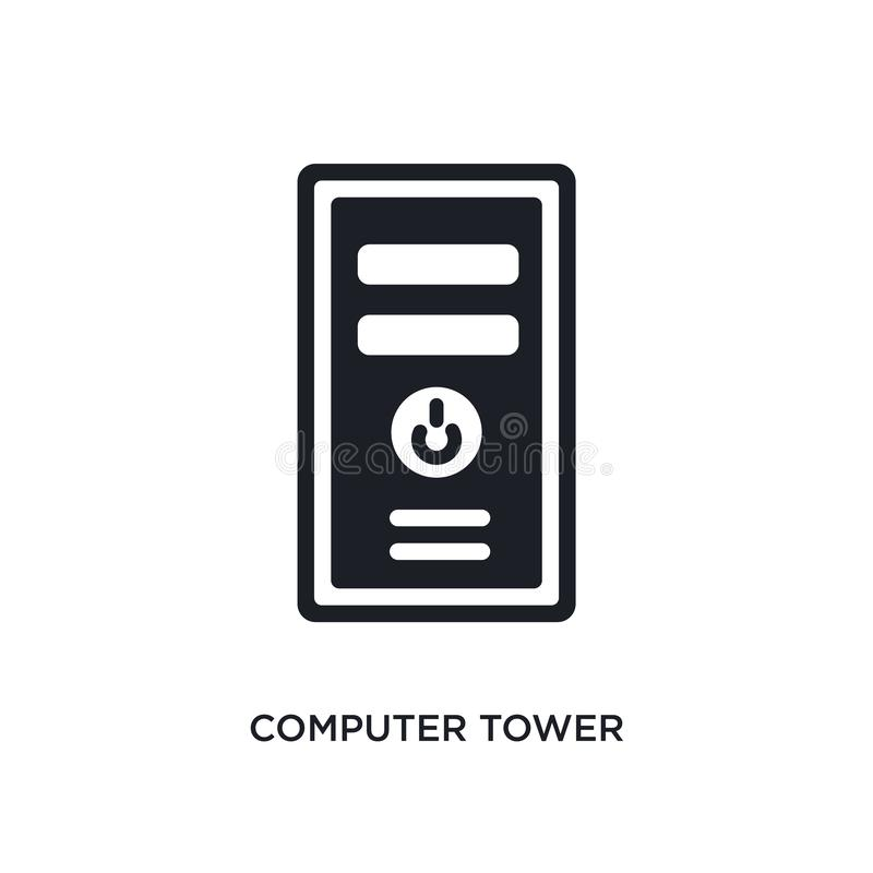 Computer tower isolated icon. simple element illustration from electronic stuff fill concept icons. computer tower editable logo. Sign symbol design on white stock illustration