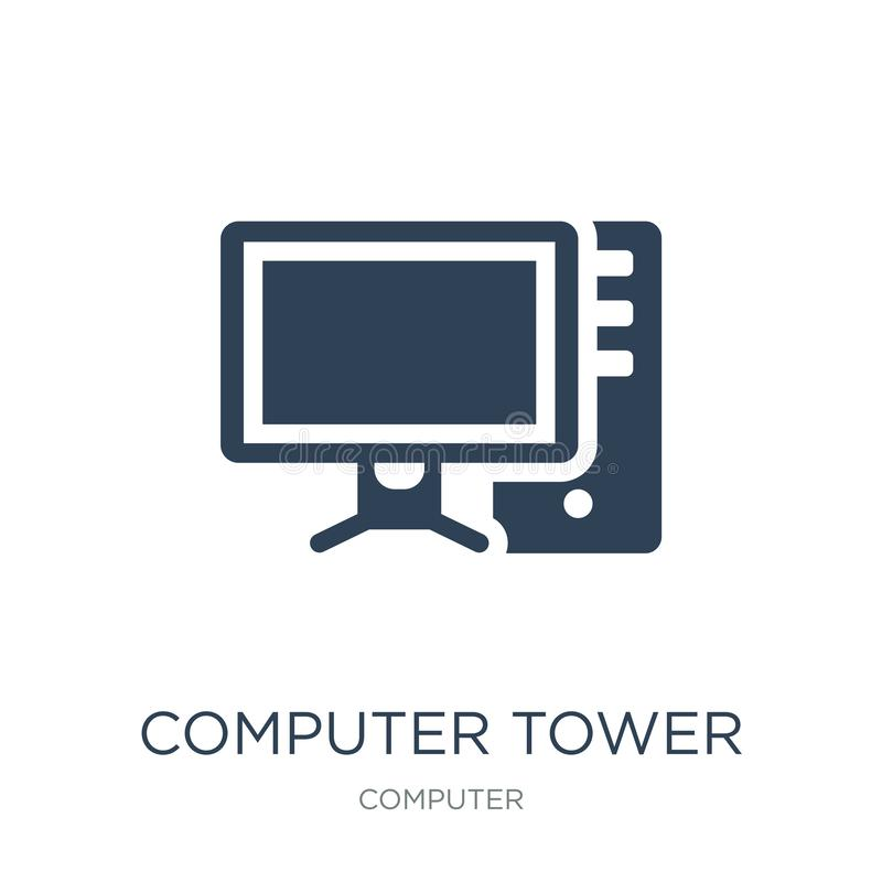 Computer tower and the monitor icon in trendy design style. computer tower and the monitor icon isolated on white background. Computer tower and the monitor stock illustration