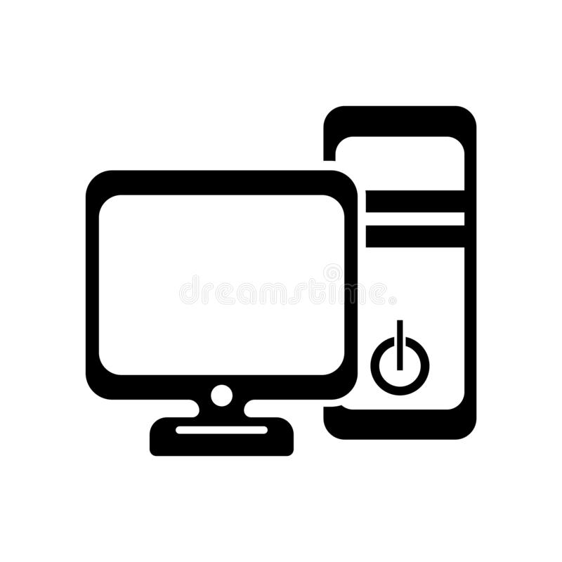Computer tower and the monitor icon vector sign and symbol isola. Computer tower and the monitor icon vector isolated on white background for your web and mobile royalty free illustration