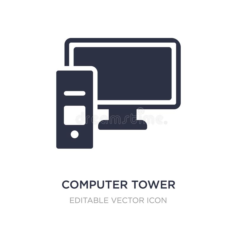 Computer tower and monitor icon on white background. Simple element illustration from Computer concept. Computer tower and monitor icon symbol design vector illustration