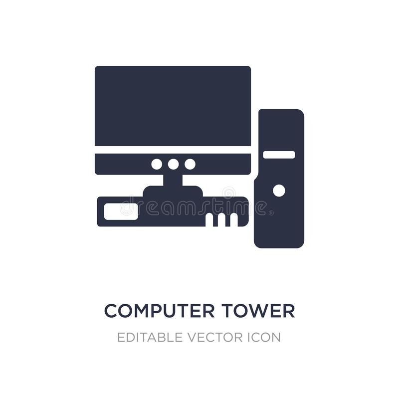 Computer tower and the monitor icon on white background. Simple element illustration from Computer concept. Computer tower and the monitor icon symbol design stock illustration