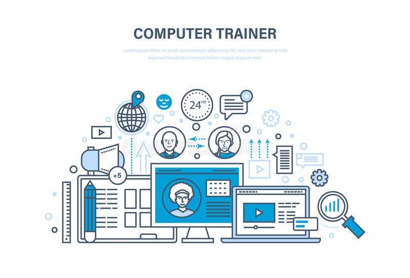 Computer trainer. Personal trainer online. Distance learning, knowledge, teaching. stock illustration