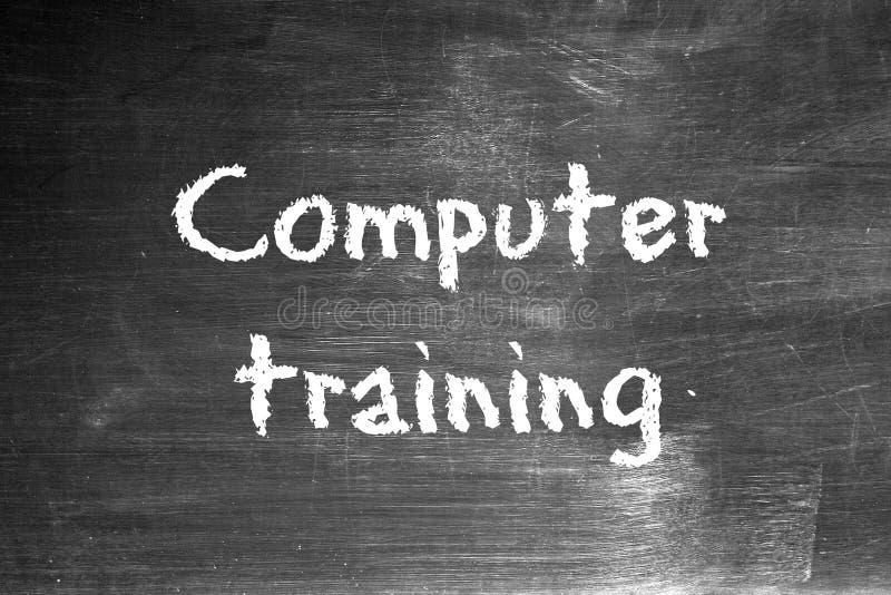 Computer training. Written on a worn blackboard stock illustration
